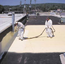 Workers spraying roof for Commercial Roofing in Culpeper, Virginia